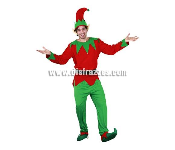 Disfraz de Elfo adulto para Navidad y para Carnaval. Talla Standar M-L = 52/54. Incluye camisa, pantalones, cinturón, cubrepies, orejas y gorro. Disfraz de Duende o Enanito.