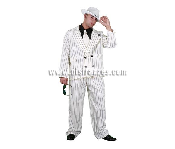Disfraz de Gánster blanco adulto. Talla standar M-L 52/54. Incluye sombrero, chaqueta, pantalones y pechera con corbata. Gafas NO incluidas.