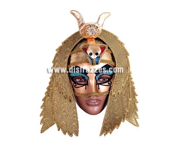 Máscara Veneciana Dorada de Egipcio. Talla Universal. Máscara Veneciana ideal para disfrazarse en Carnaval incluso en Halloween y dar el golpe con una máscara de Venecia de precio barato.