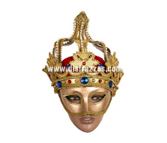 Máscara Veneciana con Corona. Talla Universal.