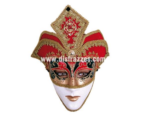 Máscara Veneciana roja con cara, detalles dorados. Talla Universal.