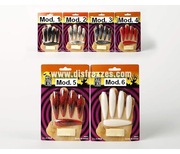 Uñas postizas ultra largas para Halloween. Set de 10 uñas (para las 2 manos). Seis modelos surtidos. Precio por unidad, se venden por separado.