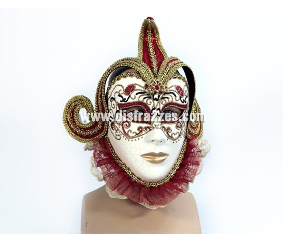 Máscara Veneciana Arlequín lujo. Talla Universal.