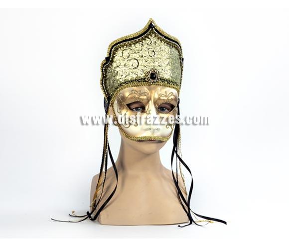 Máscara Veneciana blanca con detalles dorados. Talla Universal.