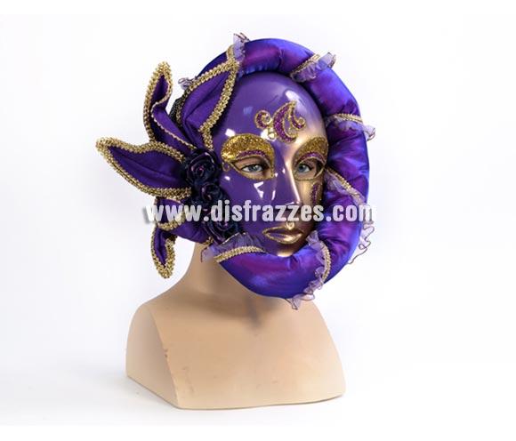 Máscara Veneciana anónima lila - oro. Talla Universal.