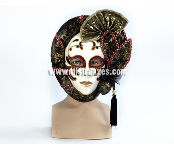 Máscara Veneciana Arlequín con adornos. Talla Universal.