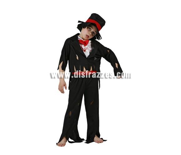 Disfraz de Zombie Elegante infantil para Halloween. Talla de 7 a 9 años. Incluye disfraz completo con sombrero.