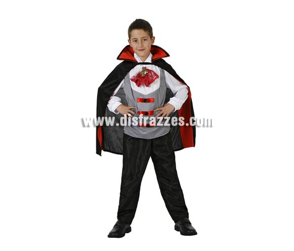 Disfraz de Vampiro infantil para Halloween. Talla de 7 a 9 años. Disfraz de Drácula para niño.