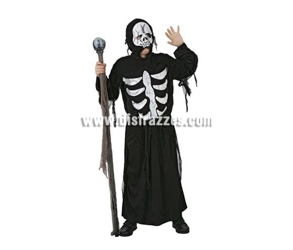 Disfraz de Muerte Esqueleto infantil para Halloween. Talla de 10 a 12 años. Bastón de mando NO incluido.