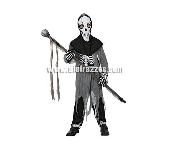 Disfraz de Esqueleto Zombie infantil para Halloween. Talla de 10 a 12 años. Bastón de mando NO incluido.