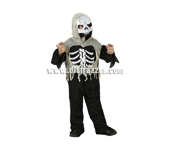 Disfraz de Esqueleto Zombie infantil para Halloween. Talla de 7 a 9 años. Incluye mono y máscara.