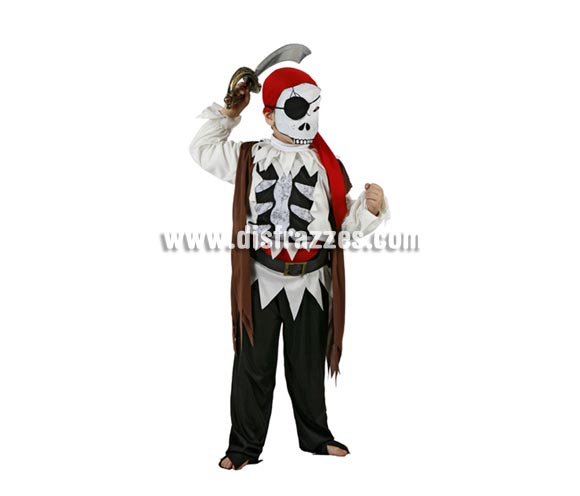 Disfraz de Pirata Esqueleto infantil para Halloween. Talla de 5 a 6 años. Espada NO incluida, podrás verla en la sección Complementos.