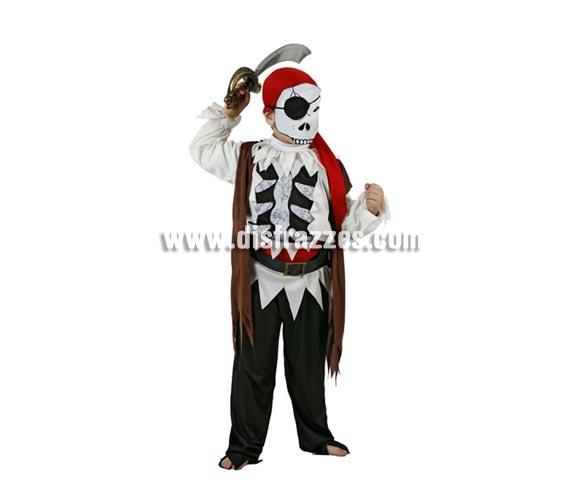 Disfraz de Pirata Esqueleto infantil para Halloween. Talla de 7 a 9 años. Espada NO incluida, podrás verla en la sección Complementos.