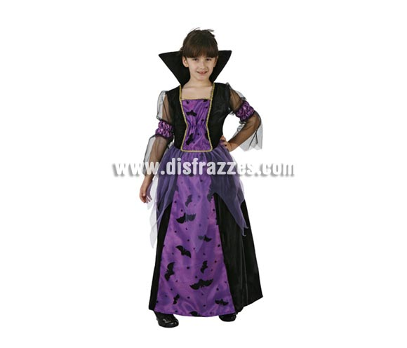 Disfraz de Vampiresa o Vampira Murciélagos para Halloween. Talla de 7 a 9 años. Incluye vestido.