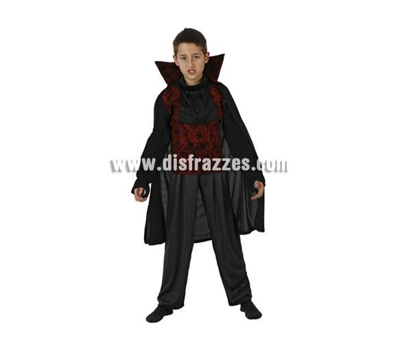 Disfraz de Vampiro Telarañas o disfraz de Drácula infantil para Halloween. Talla de 5 a 6 años.