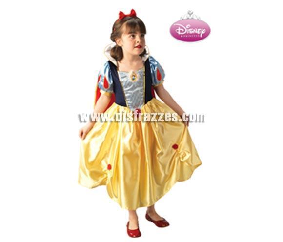 Disfraz de Blancanieves PLATINUM infantil para Carnaval. Talla de 5 a 6 años. Incluye vestido, diadema y capa. Disfraz con licencia Disney perfecto como regalo.