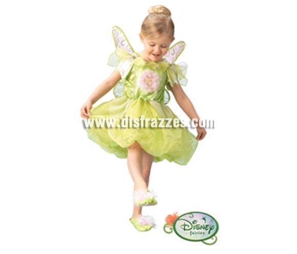 Disfraz Disney de Campanilla PLATINUM infantil para Carnaval. Talla de 5 a 7 años. Incluye vestido, alas y zapatos. Traje con licencia Disney perfecto como regalo.