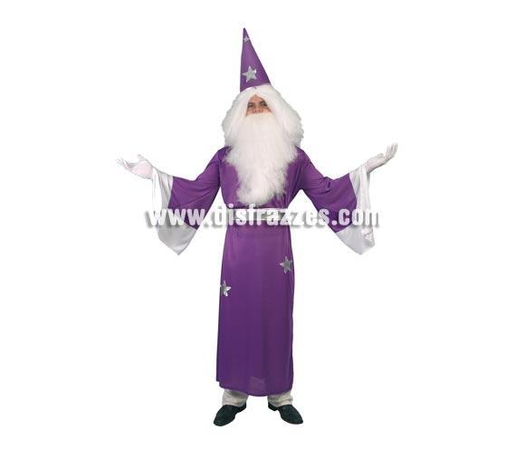 Disfraz barato de Mago Merlín adulto para Carnaval y Halloween. Talla única 52/54. Incluye túnica, cinturón y sombrero. Traje de Brujo para hombre.
