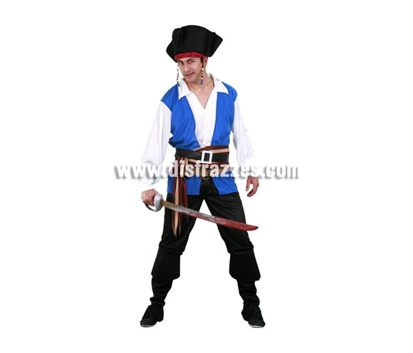 Disfraz de Pirata del Caribe adulto. Talla standar M-L 52/54. Incluye sombrero, camisa, pantalones con botas de tela, 2 cinturones y fajín. Espada NO incluida, podrás ver espadas en la sección de Complementos.
