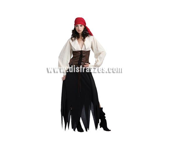 Disfraz de Pirata para mujer. Talla standar M-L 38/42. Incluye vestido con body de una pieza y bandana o pañuelo de la cabeza.