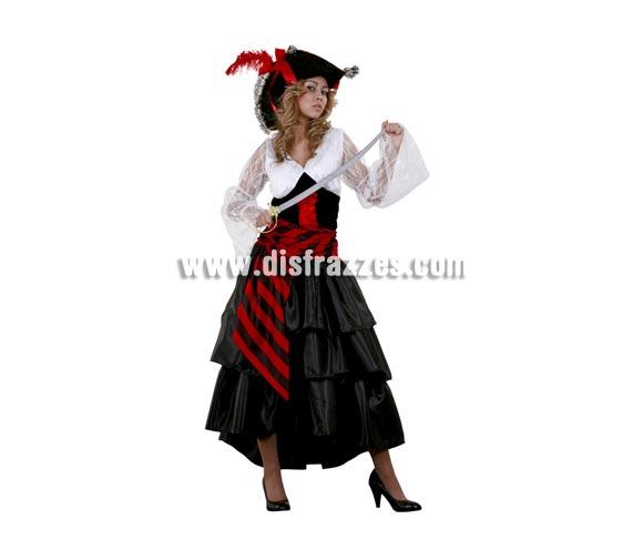 Disfraz de Pirata adulta. Talla standar M-L 38/42. Incluye sombrero, vestido y fajín. Espada NO incluida, podrás ver espadas en la sección de Complementos.