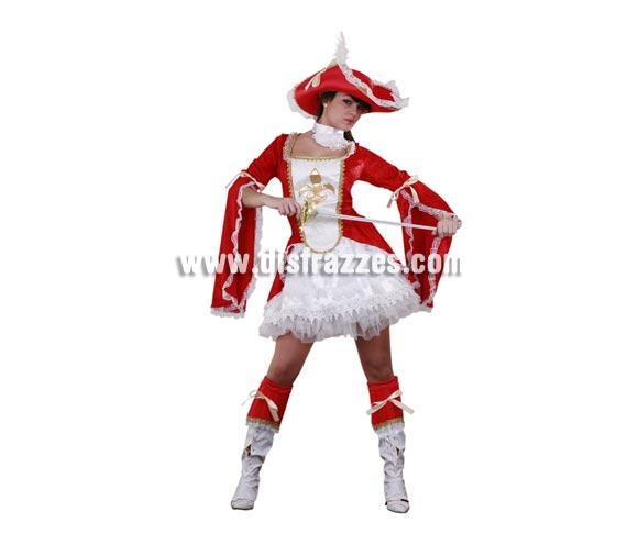 Disfraz de Lady Mosquetera adulta. Talla standar M-L 38/42. Incluye vestido, gargantilla, sombrero, cubrebotas y enagua. Espada NO incluida, podrás ver espadas en la sección de Complementos. Disfraz de Mosquetera Sexy para mujer.