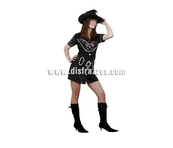 Disfraz de Vaquera adulta para mujer. Talla Standar M-L = 38/42. Incluye vestido y cinturón. Sombrero NO incluido, podrás verlo en la sección Complementos. Disfraz de Pistolera Sexy para mujer.
