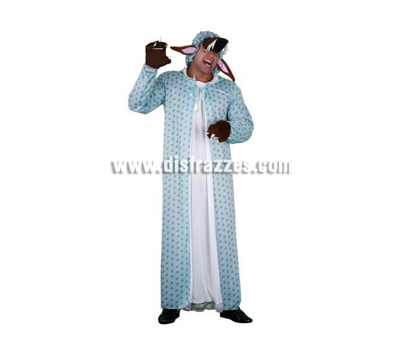 Disfraz barato de Lobo disfrazado de Abuelita adulto. Talla standar M-L 52/54. Incluye gorro con orejas y ocico, camisón con manoplas. Disfraz de Lobo con camisón para hombre.