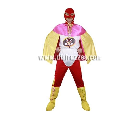 Disfraz de Superhéroe Spanish para hombre. Talla Standar M-L = 52/54. Incluye capucha, camiseta, calzoncillo, pantalones, cubrebotas y capa. Disfraz muy cachondo perfecto para Despedidas de Soltero. Disfraz de Superhéroe Gañán o de Capitán Salami.
