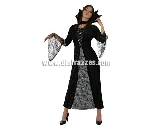 Disfraz de Vampiresa Mujer Araña adulta para Halloween. Talla única 38/42. Incluye vestido y cuello.