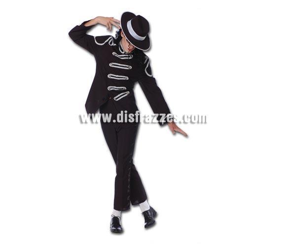 Disfraz de Rey del Pop adulto. Talla única 52/54. Incluye máscara de tela negra, pantalón y chaqueta. Sombrero NO incluido, podrás verlo en la sección de Complementos. Para sentirse e imitar al mítico Michael Jackson perfecto para Fiestas de disfraces.