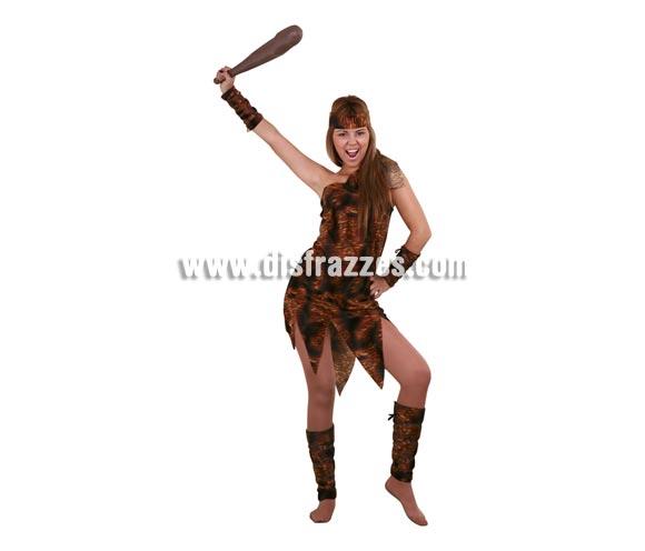 Disfraz de Troglodita adulta. Talla standar M-L 38/42. Incluye vestido, cinturón, muñequeras y tobilleras. Maza NO incluida, podrás verla en la sección de Complementos. Disfraz de Cavernícola Sexy para mujer.