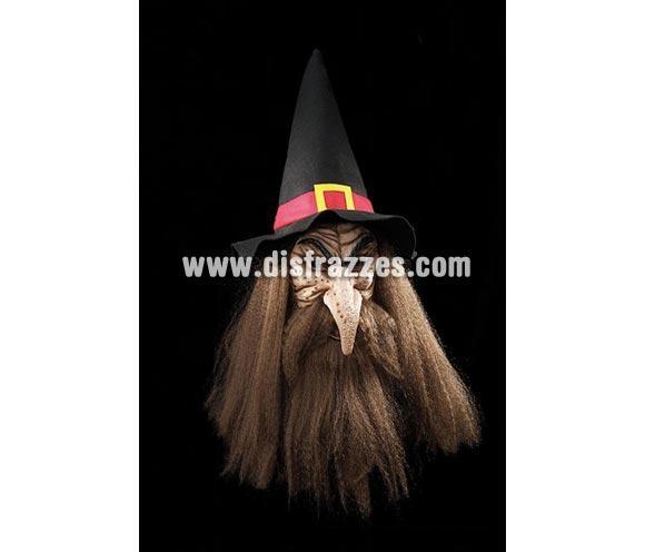 Careta de Brujo con sombrero para Halloween barata.
