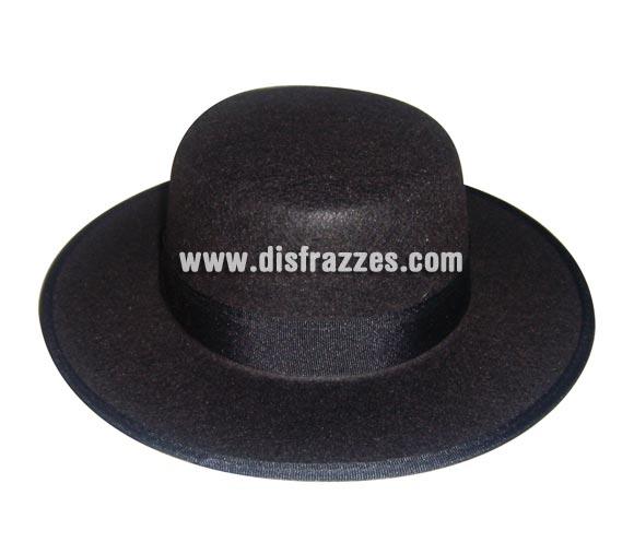 Sombrero Cordobés de fieltro negro de la talla 56 para Carnaval. La talla es la medida en cm. que tiene el perímetro de la cabeza.