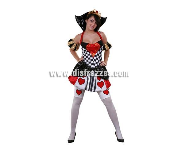 Disfraz de Reina de Corazones adulta. Talla standar M-L 38/42. Incluye tocado, vestido con cuello, mangas, enaguas y ligas. Un disfraz muy Sexy ideal también para Despedidas.