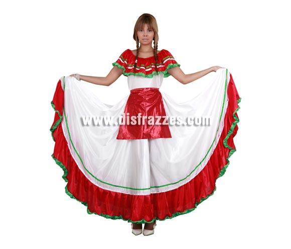 Disfraz de Mejicana adulta. Talla standar M-L 38/42. Incluye vestido y delantal.