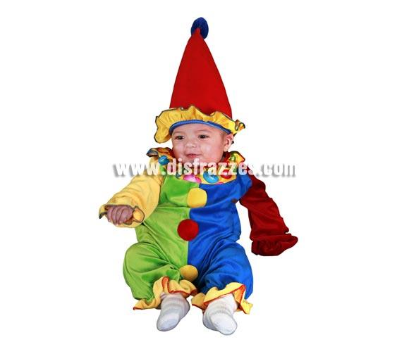 Disfraz de Payaso Bebé. Talla de 0 a 6 meses. Incluye gorrito y mono.