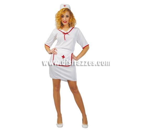 Disfraz super barato de enfermera adulta para Carnaval. Talla única 42/44. Incluye cofia, delantal y vestido.