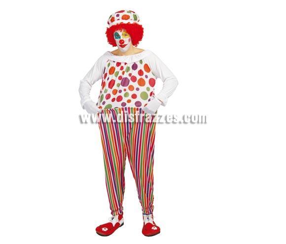 Disfraz barato de Payaso elegante adulto para Carnaval. Talla única 52/54. Incluye gorro y traje con aro. Peluca NO incluida, podrás verla en la sección de Pelucas.