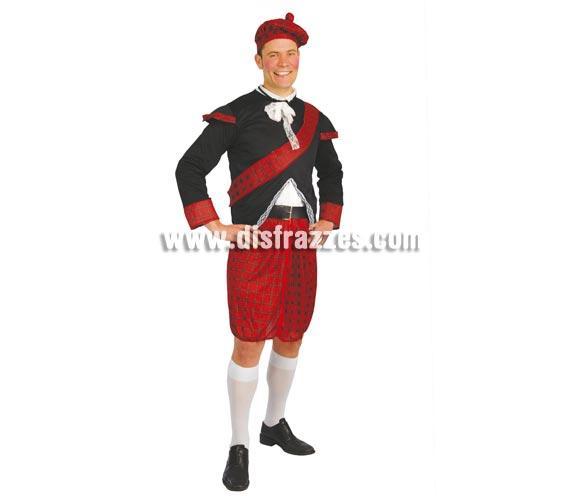 Disfraz de Escocés adulto para Carnavales. Talla única 52/54. Incluye gorra, chaqueta, banda, cinturón y falda.
