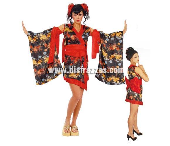 Disfraz de Japonesa Sexy adulta para Carnavales. Talla única 42/44. Incluye vestido, mangas y fajín con lazo. Disfraz de Geisha Sexy para mujer.