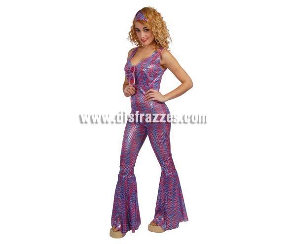 Disfraz de Mujer de la Disco azul años 80 adulta para Carnaval. Talla única 38/40. Incluye cinta de la cabeza y mono. Gafas NO incluidas, podrás ver gafas en la sección Complementos.