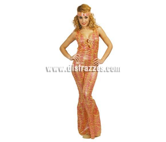 Disfraz de Mujer de la Disco Oro años 80 adulta para Carnaval. Talla única 38/40. Incluye cinta de la cabeza y mono.