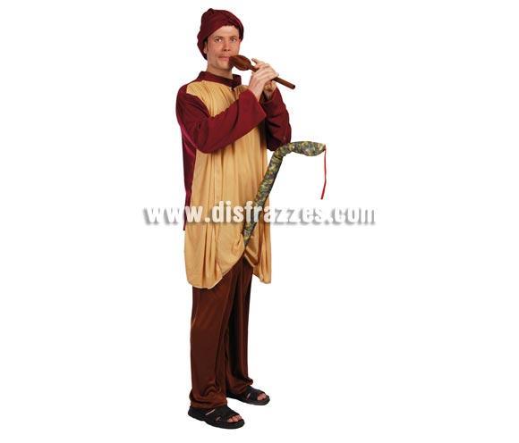 Disfraz de Encantador de Serpientes adulto para Carnavales. Talla única 52/54. Incluye gorro, túnica, pantalón, flauta y serpiente.