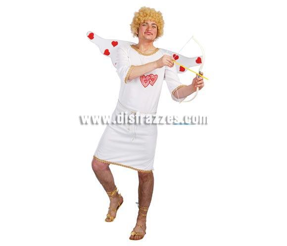 Disfraz de Cupido adulto para Carnavales. Talla única 52/54. Incluye túnica, cinturón y alas. Peluca, zapatos y arco con flecha NO incluidos. El disfraz ideal para Despedidas de Soltero.