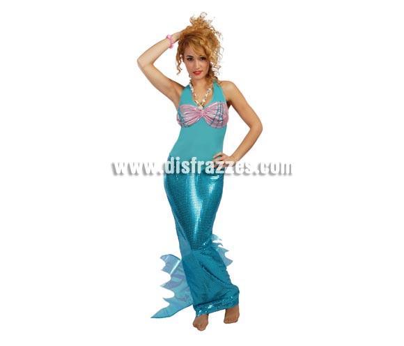 Disfraz de Sirena adulta para Carnavales. Talla única válida hasta la 42/44. Incluye el vestido. Disfraz de Ariel, la Princesa de los Mares para mujer.