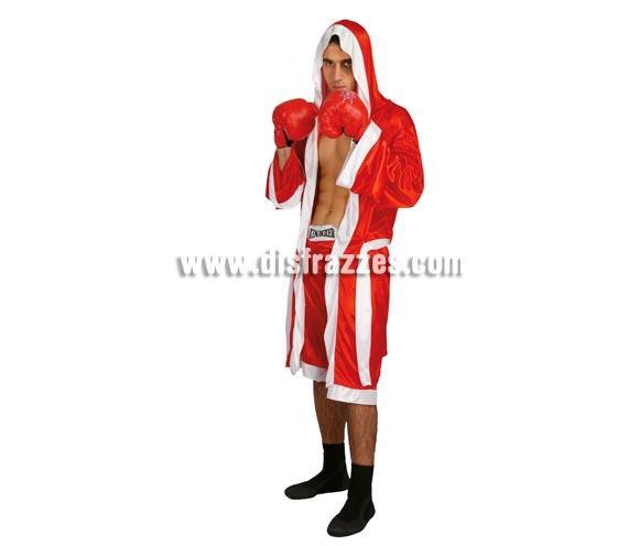 Disfraz de Boxeador adulto para Carnavales. Talla única hasta la 52/54. Incluye batín, cinturón y pantalón. Guantes NO incluidos, podrás verlos en la sección Accesorios.