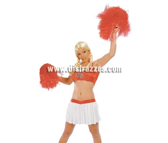 Disfraz barato de Animadora mujer adulta para Carnavales. Talla única hasta la 38/40. Incluye camiseta y falda. Pompones y peluca NO incluidos, podrás verlos en la sección Complementos.