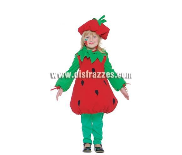 Disfraz barato de Fresita infantil para niñas. Talla de 4 a 6 años. Incluye gorro y vestido.