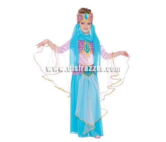 Disfraz de Bailarina Oriental infantil. Talla de 7 a 9 años. Incluye tocado y vestido. Disfraz de Danza del vientre. Disfraz de chica Árabe o de Bailarina del Vientre para niñas perfecto para Fiestas y Carnavales. También sirve cómo disfraz de Paje para Cabalgatas de Reyes en Navidad.